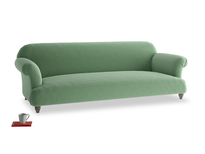 Extra large Soufflé Sofa in Thyme Green Vintage Linen