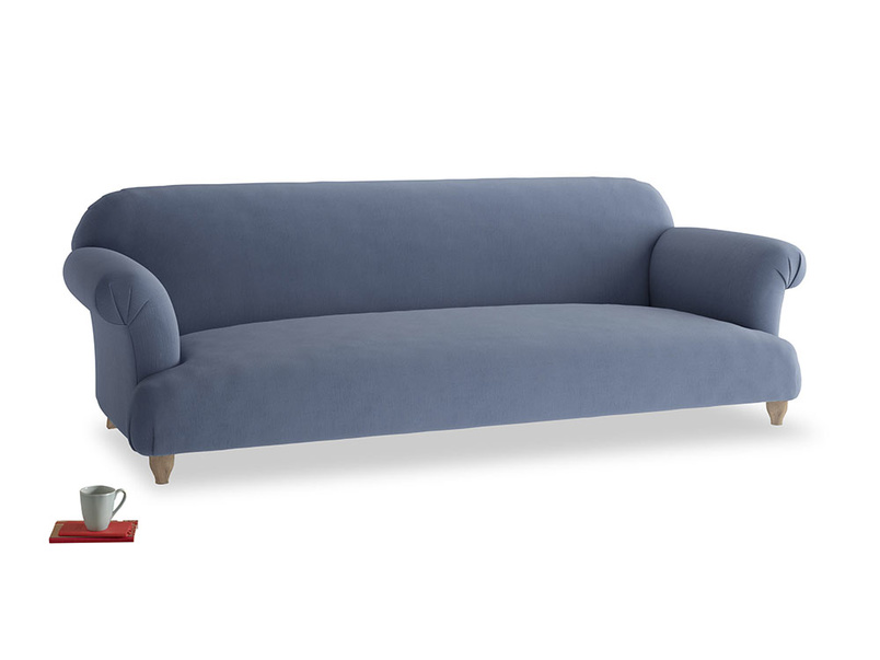 Extra large Soufflé Sofa in Breton blue clever cotton