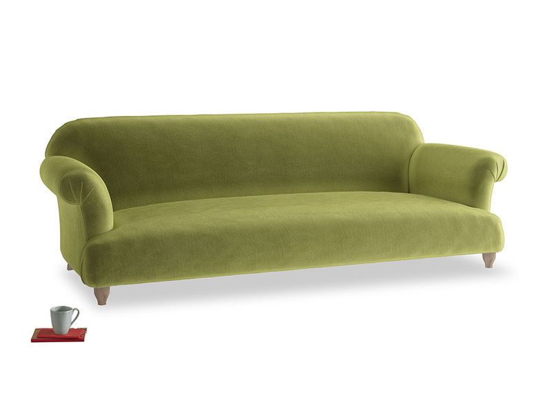 Extra large Soufflé Sofa in Olive plush velvet