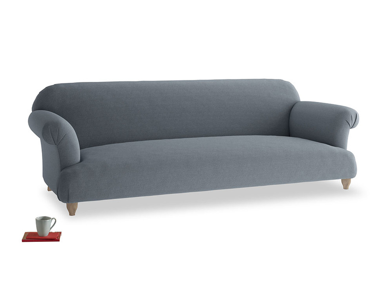 Extra large Soufflé Sofa in Blue Storm washed cotton linen