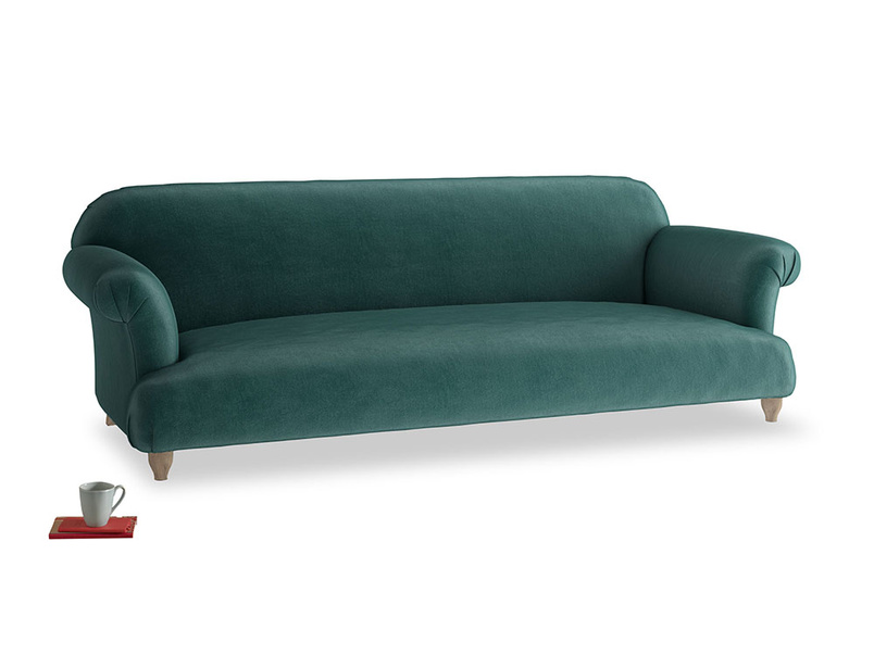 Extra large Soufflé Sofa in Timeless teal vintage velvet