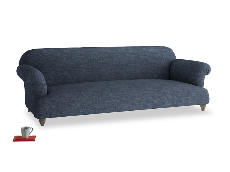 Extra large Soufflé Sofa in Selvedge Blue Clever Laundered Linen