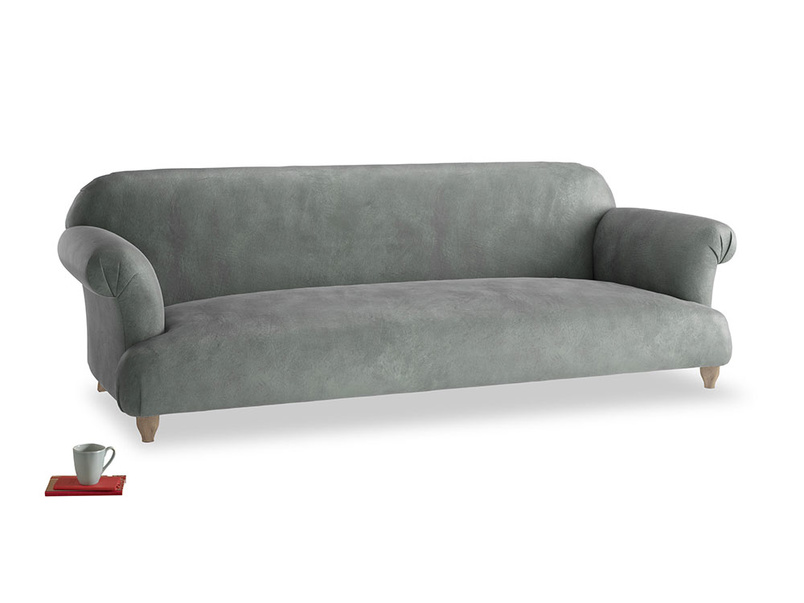 Extra large Soufflé Sofa in Faded Charcoal beaten leather
