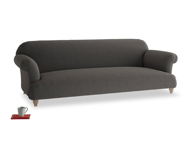 Extra large Soufflé Sofa in Old Charcoal brushed cotton