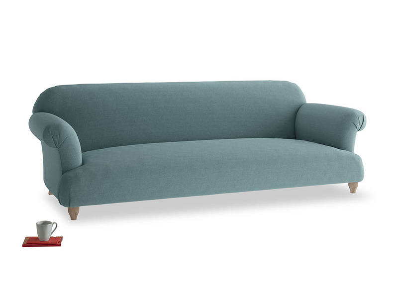 Extra large Soufflé Sofa in Marine washed cotton linen