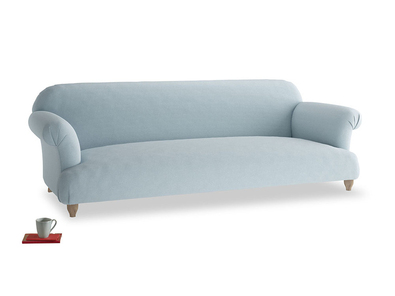 Extra large Soufflé Sofa in Soothing blue washed cotton linen