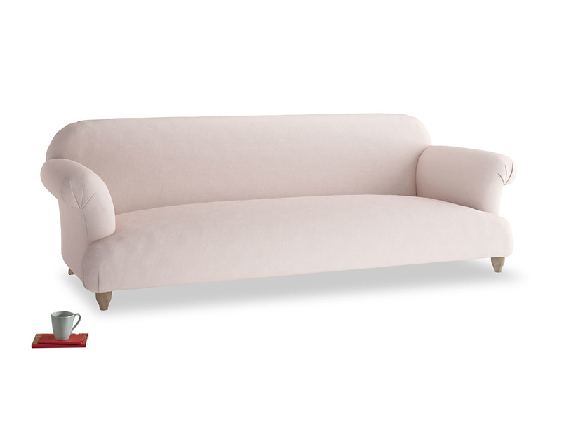 Extra large Soufflé Sofa in Faded Pink brushed cotton