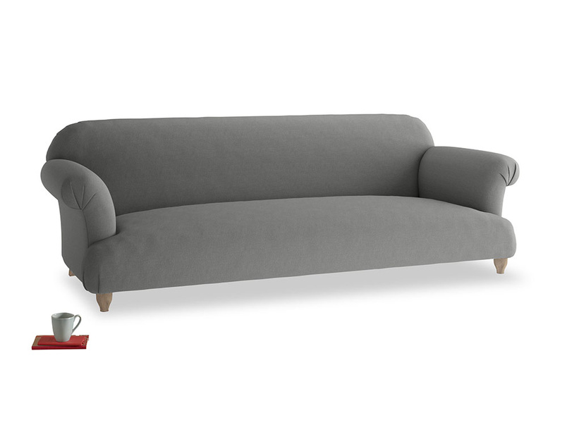 Extra large Soufflé Sofa in French Grey brushed cotton