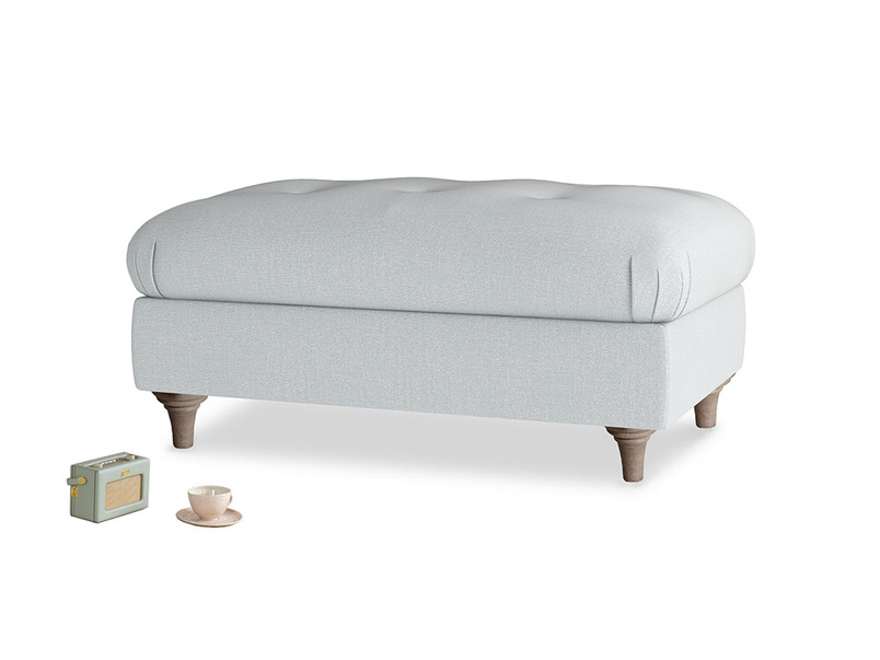 Rectangle Jammy Dodger Footstool in Gull Grey Bamboo Softie