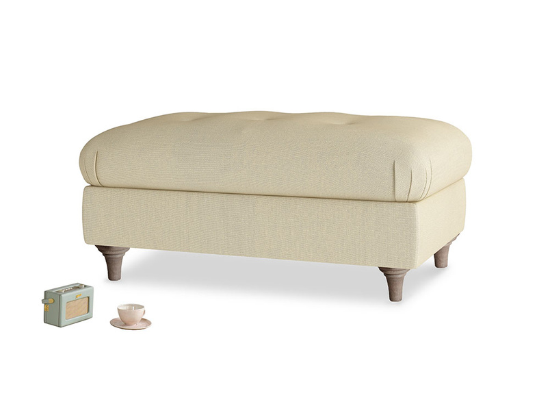 Rectangle Jammy Dodger Footstool in Parchment Clever Linen