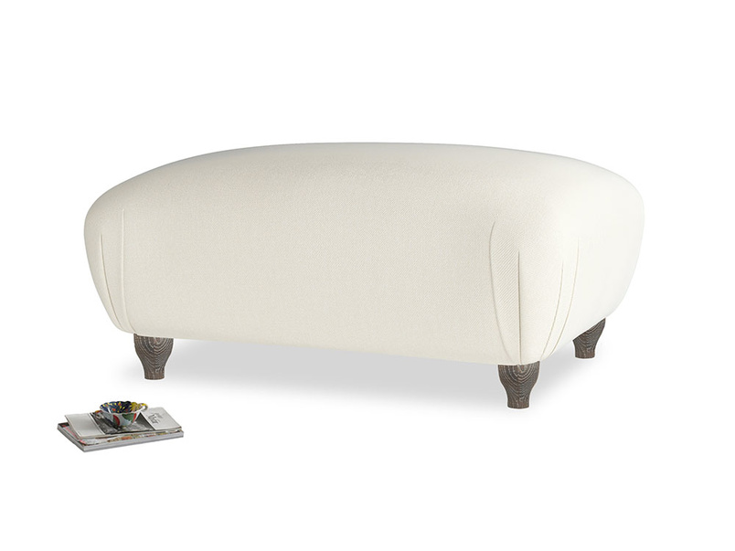 Rectangle Homebody Footstool in Alabaster Bamboo Softie