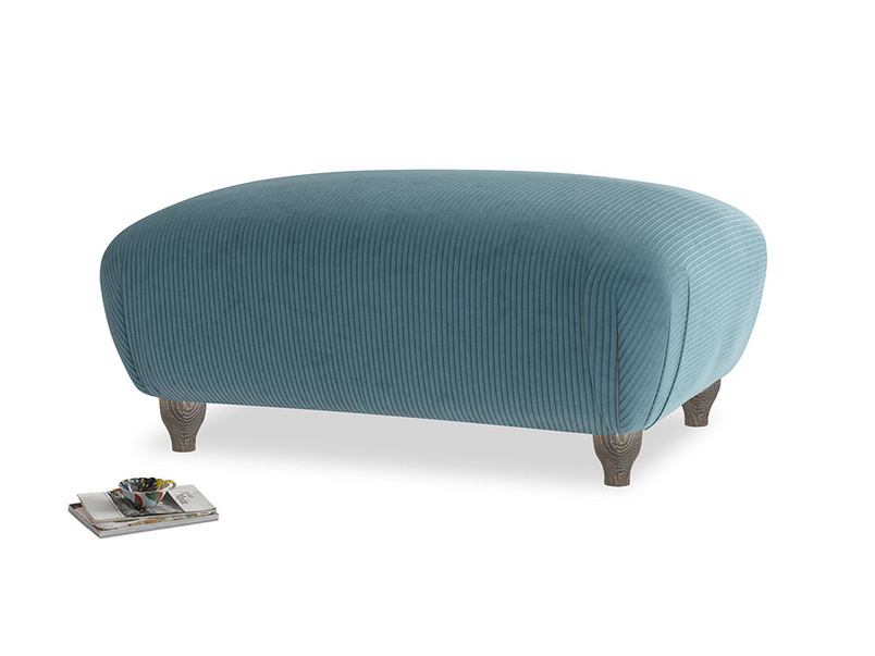 Rectangle Homebody Footstool in Lovely Blue Clever Cord