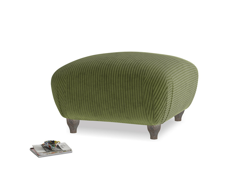 Small Square Homebody Footstool in Leafy Green Clever Cord