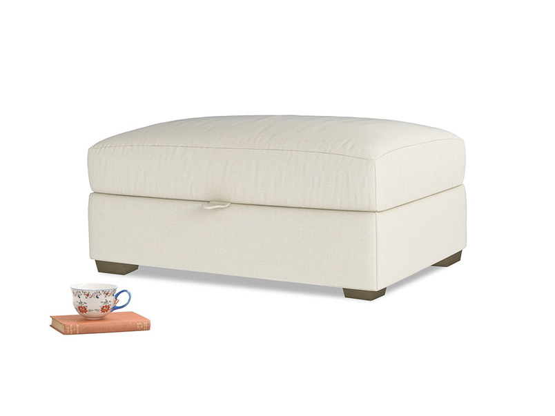 Bumper Storage Footstool in Alabaster Bamboo Softie
