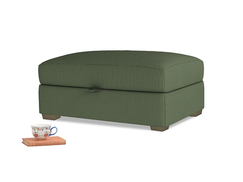 Bumper Storage Footstool in Forest Green Clever Linen