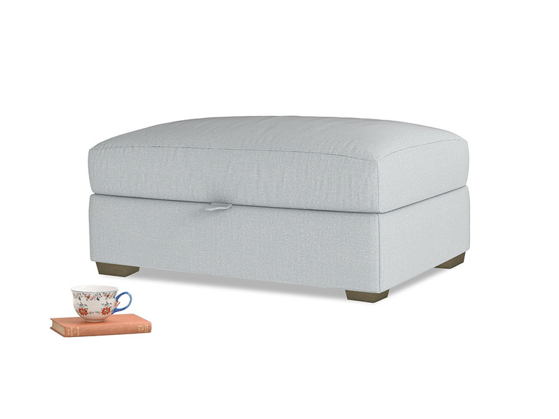 Bumper Storage Footstool in Gull Grey Bamboo Softie