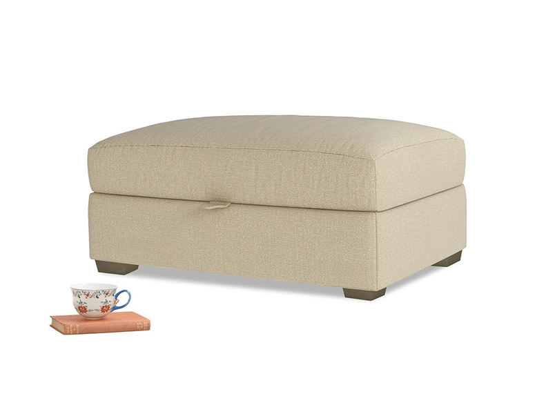 Bumper Storage Footstool in Hopsack Bamboo Softie