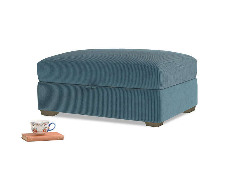 Bumper Storage Footstool in Lovely Blue Clever Cord