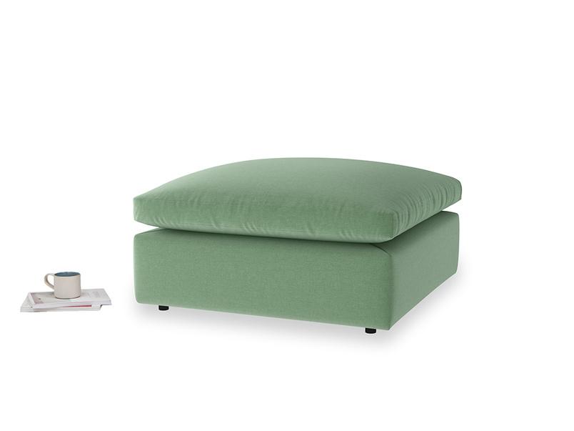 Cuddlemuffin Footstool in Thyme Green Vintage Linen