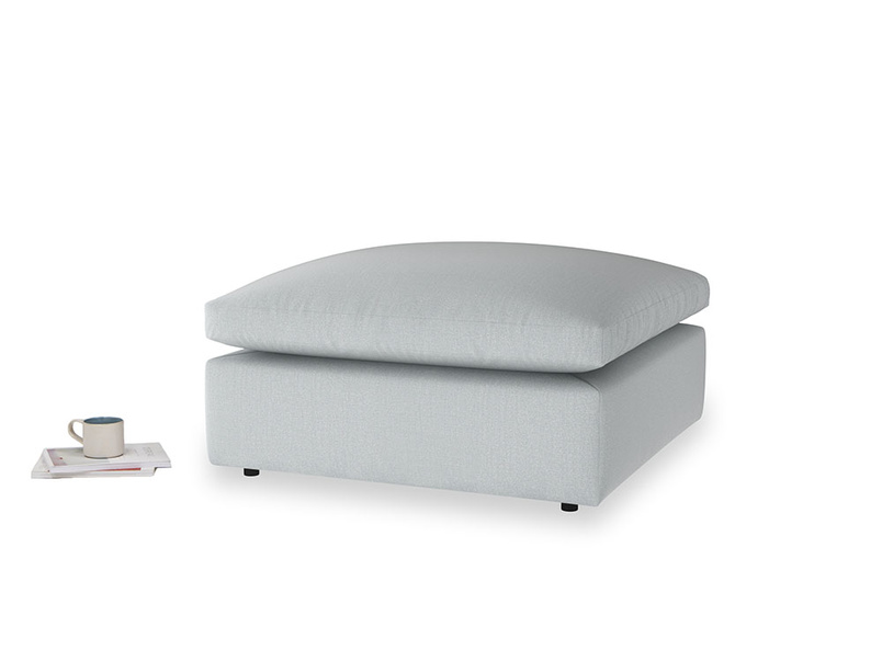 Cuddlemuffin Footstool in Gull Grey Bamboo Softie