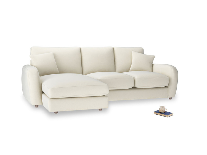 Large left hand Easy Squeeze Chaise Sofa in Alabaster Bamboo Softie