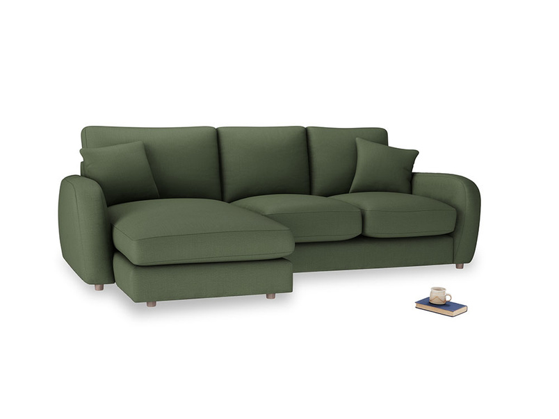 Large left hand Easy Squeeze Chaise Sofa in Forest Green Clever Linen