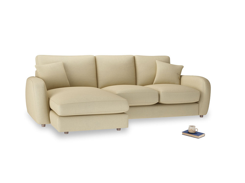 Large left hand Easy Squeeze Chaise Sofa in Parchment Clever Linen