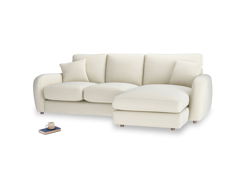 Large right hand Easy Squeeze Chaise Sofa in Alabaster Bamboo Softie
