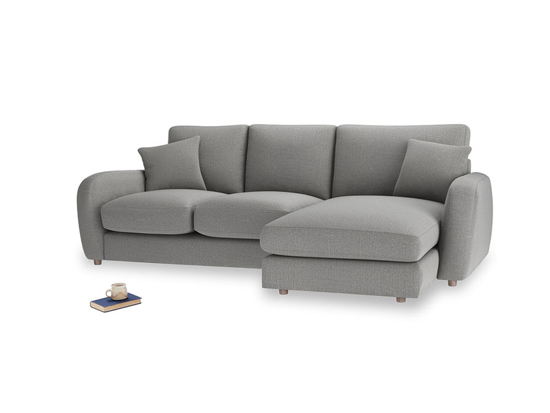 Large right hand Easy Squeeze Chaise Sofa in Cloudburst Bamboo Softie