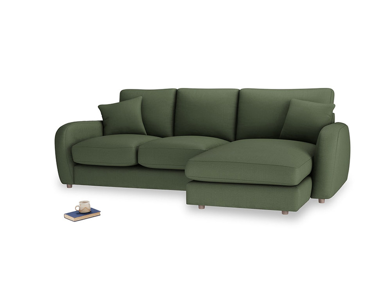 Large right hand Easy Squeeze Chaise Sofa in Forest Green Clever Linen