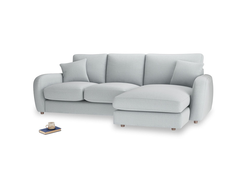 Large right hand Easy Squeeze Chaise Sofa in Gull Grey Bamboo Softie