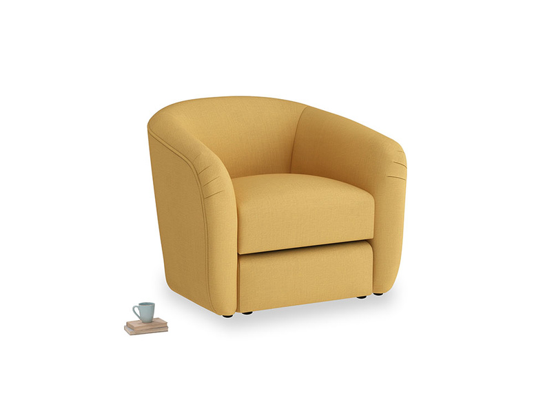 Tootsie Armchair in Dorset Yellow Clever Linen