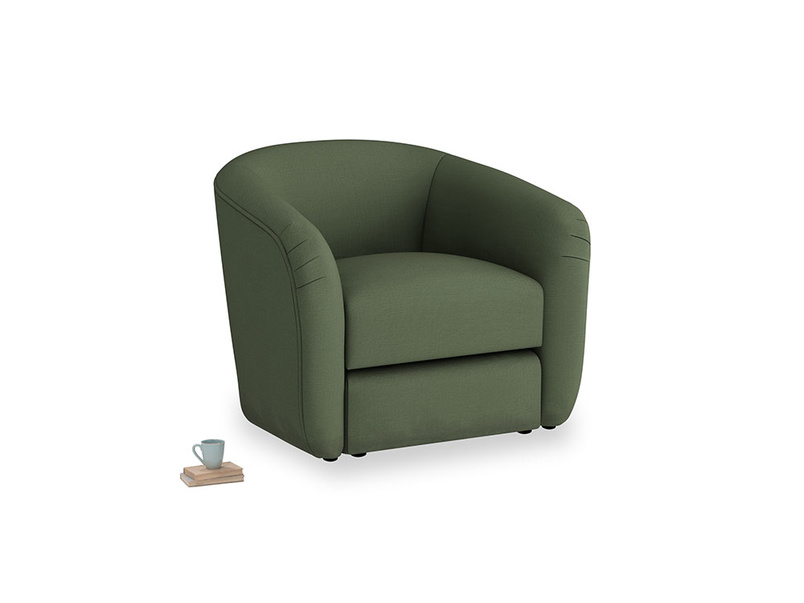 Tootsie Armchair in Forest Green Clever Linen