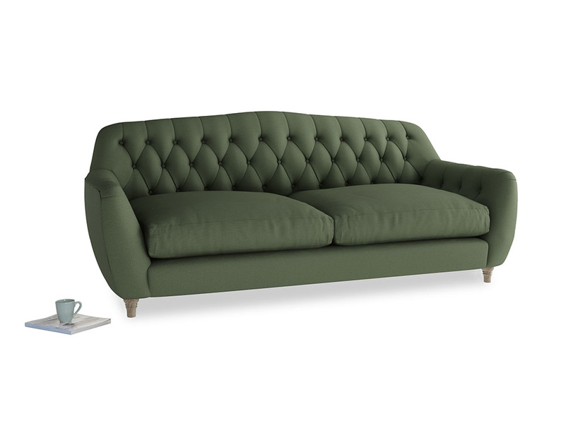 Large Butterbump Sofa in Forest Green Clever Linen