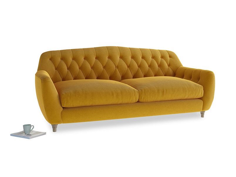 Large Butterbump Sofa in Saffron Yellow Clever Cord
