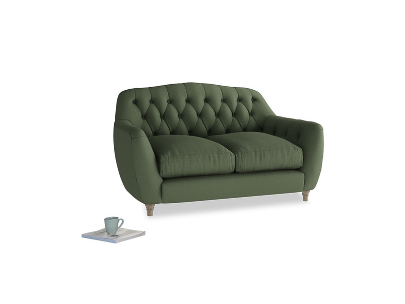 Small Butterbump Sofa in Forest Green Clever Linen
