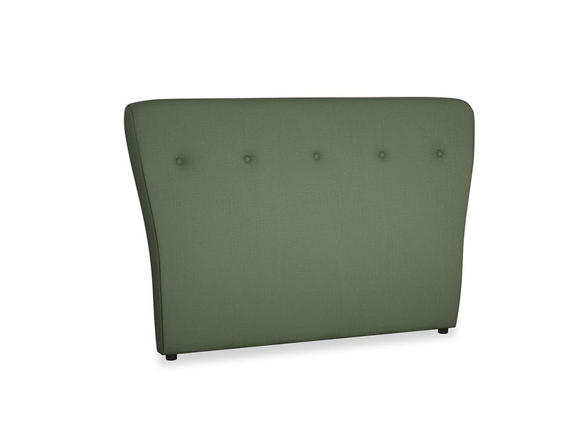 Double Smoke Headboard in Forest Green Clever Linen