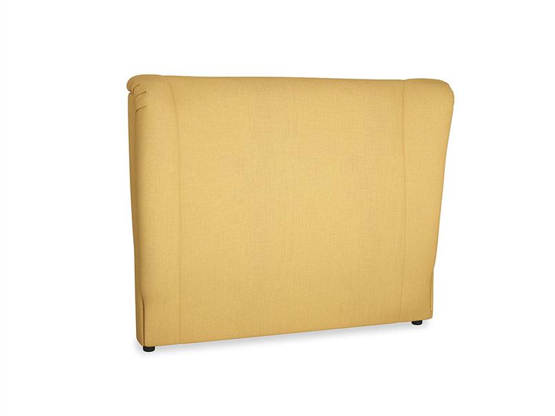 Double Hugger Headboard in Dorset Yellow Clever Linen