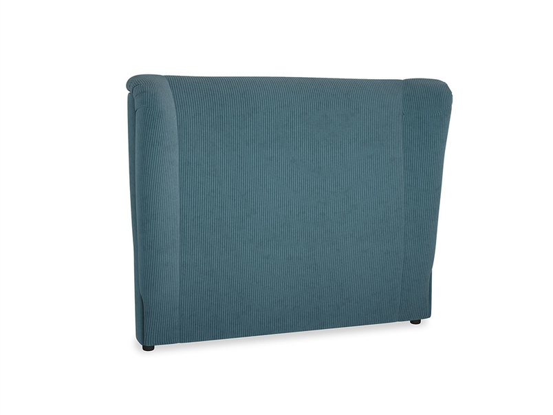 Double Hugger Headboard in Lovely Blue Clever Cord