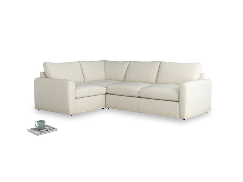 Large left hand Chatnap modular corner storage sofa in Alabaster Bamboo Softie with both arms