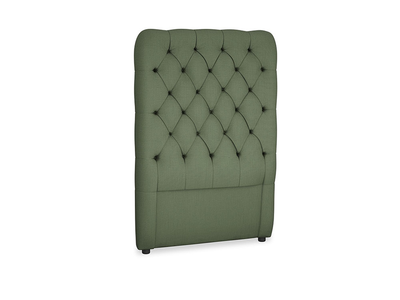 Single Tall Billow Headboard in Forest Green Clever Linen