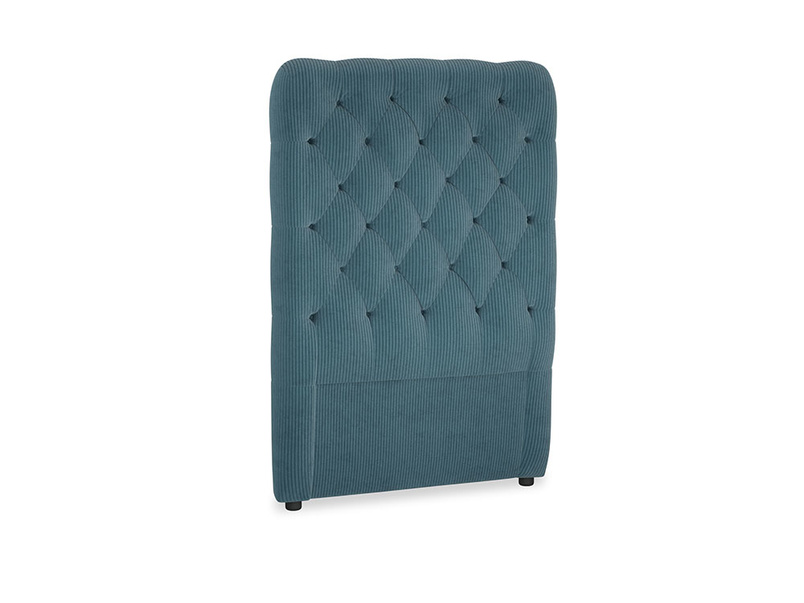 Single Tall Billow Headboard in Lovely Blue Clever Cord