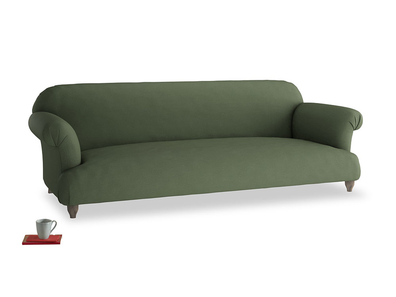 Extra large Soufflé Sofa in Forest Green Clever Linen