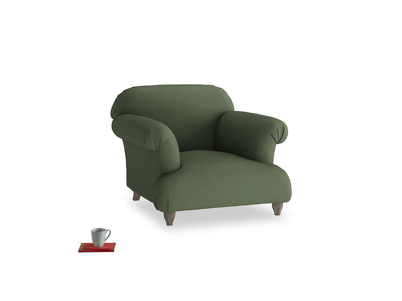 Soufflé Armchair in Forest Green Clever Linen