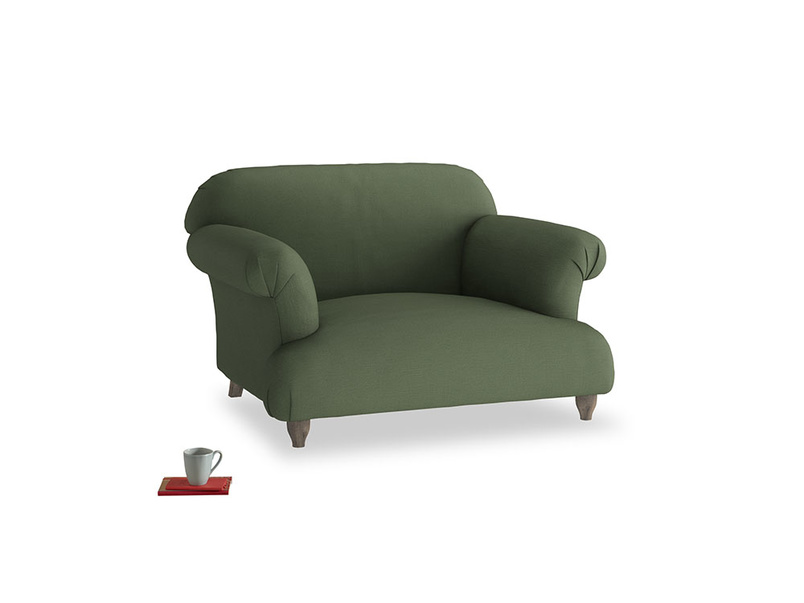 Soufflé Love seat in Forest Green Clever Linen