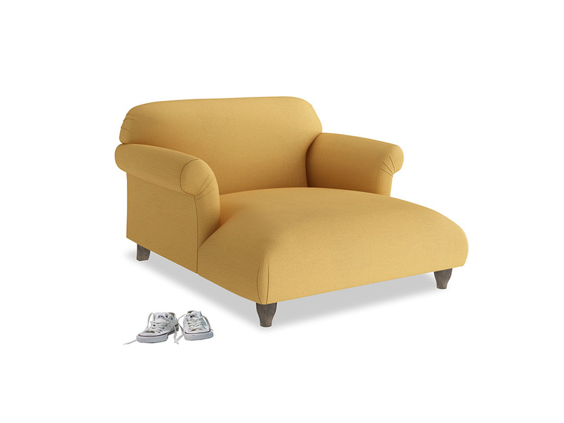 Soufflé Love Seat Chaise in Dorset Yellow Clever Linen