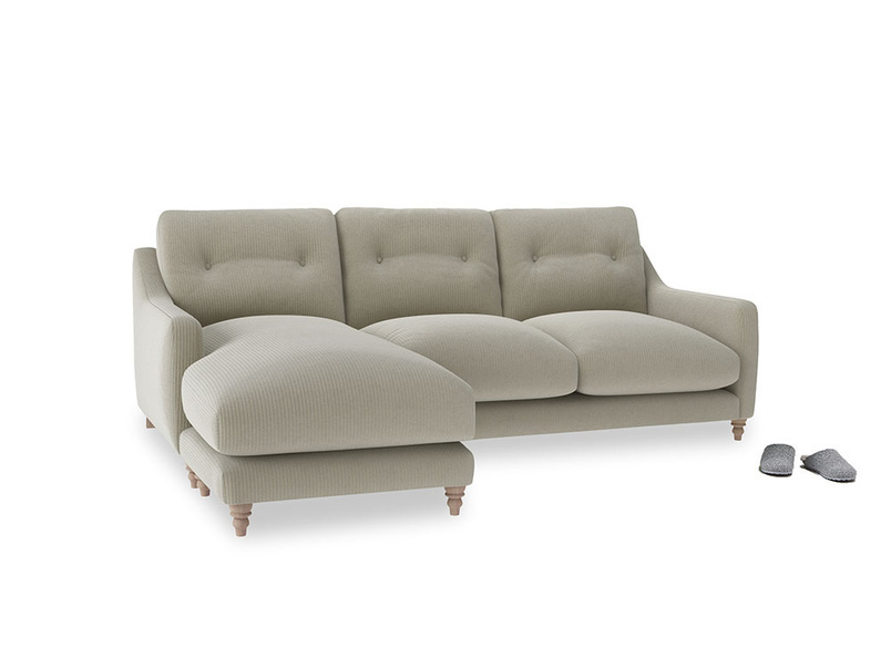 Large left hand Slim Jim Chaise Sofa in Blighty Grey Clever Cord