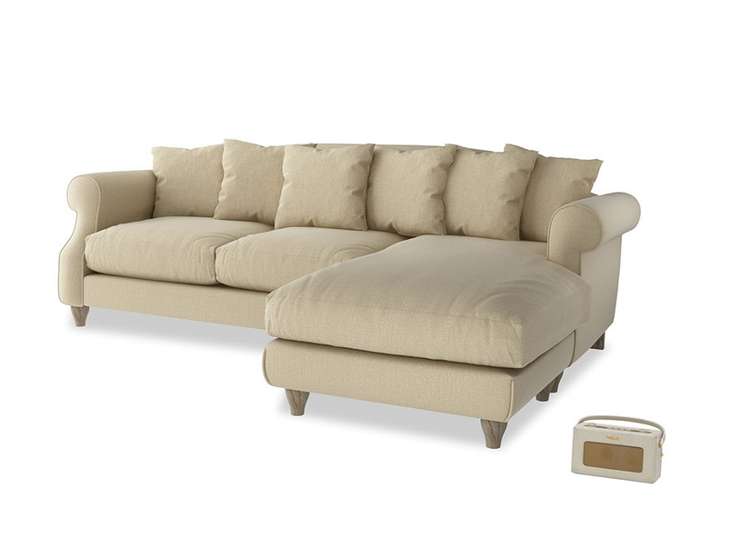 XL Right Hand  Sloucher Chaise Sofa in Hopsack Bamboo Softie