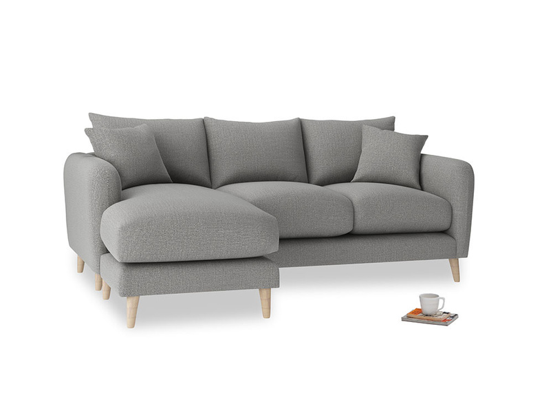 Large left hand Squishmeister Chaise Sofa in Cloudburst Bamboo Softie