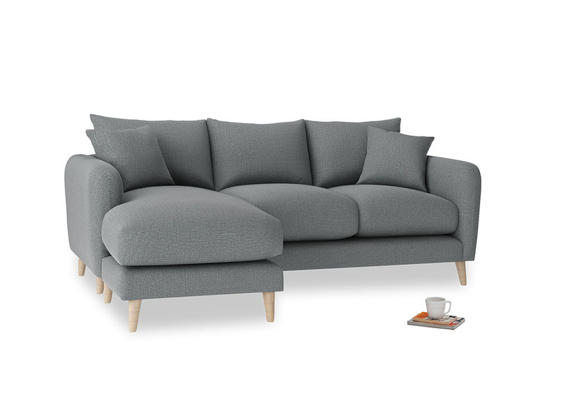 Large left hand Squishmeister Chaise Sofa in Cornish Grey Bamboo Softie
